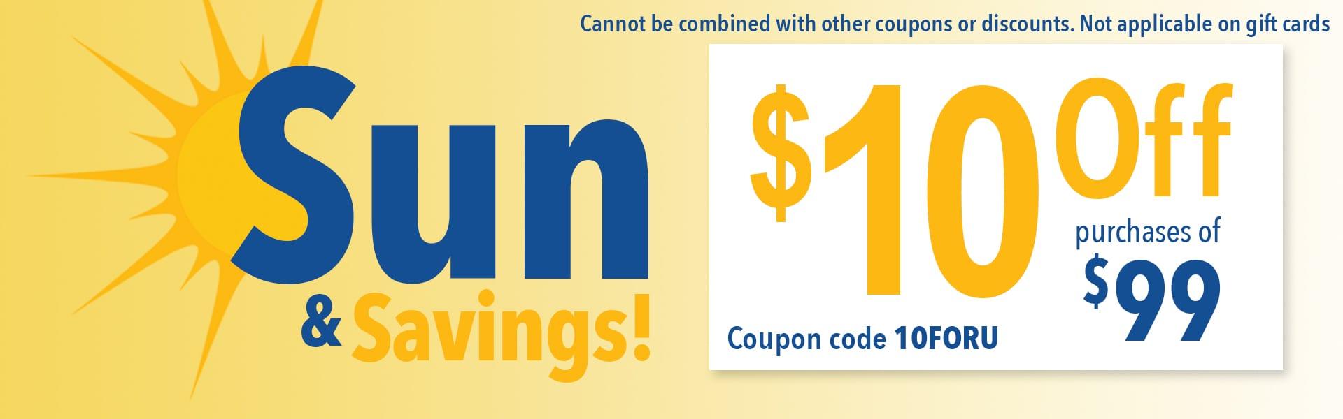 Sun & Savings $10 off $99