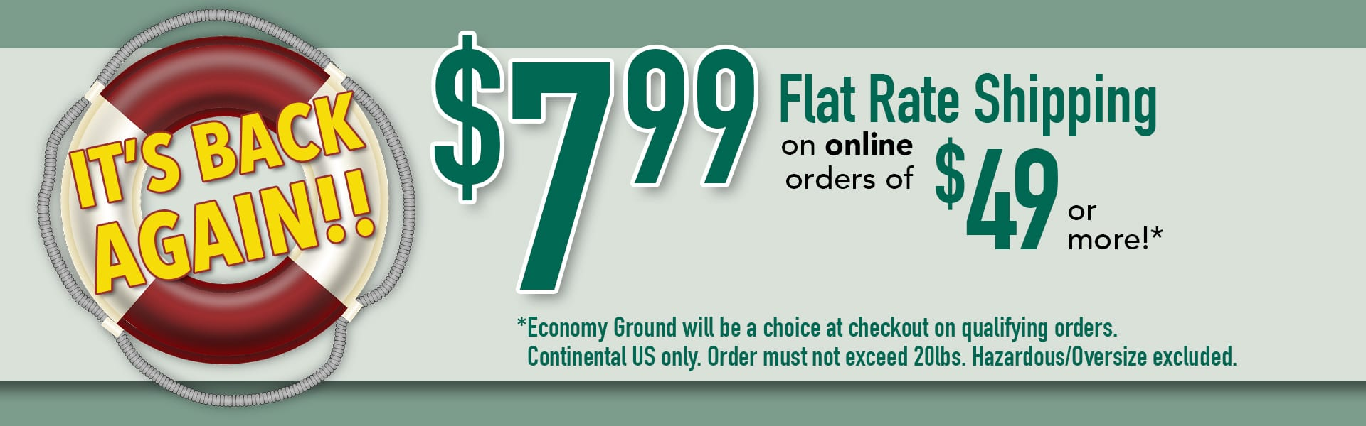 Flat Rate Shipping is Back!